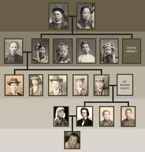 Chinese immigrant family tree, created for Stanford Chinese Studies department